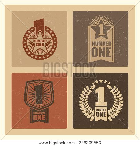 Set Of Grunge Vintage Number One Banner With Labels. Vector Vintage Banner One Illustration