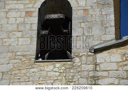 Zoom On A Church Bell In A Small Village