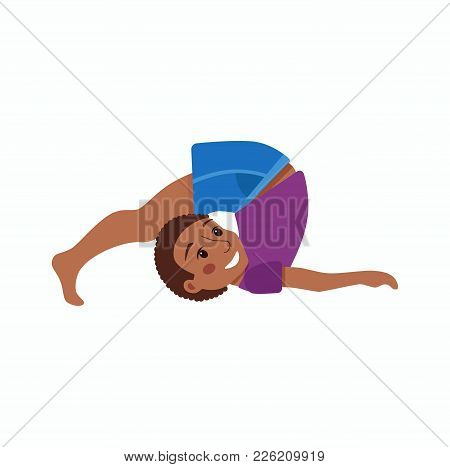 Cute Cartoon Gymnastics For Children And Healthy Lifestyle Sport Illustration. Vector Happy African
