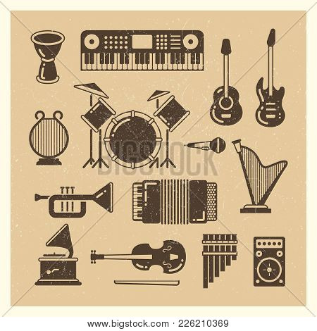 Classic Music Instruments Grunge Silhouettes Set. Vector Musical Instrument And Music Sound Illustra
