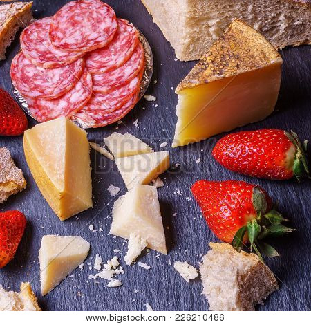 Organic Appetizer Cheese, Ham, Homemade Bread And Strawberry, On Rustic Black Board;