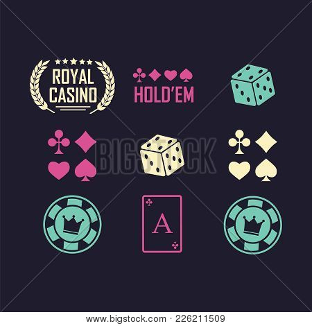 Lucky Seven Jackpot. Casino Vector Sign Set. Poker Club Logo