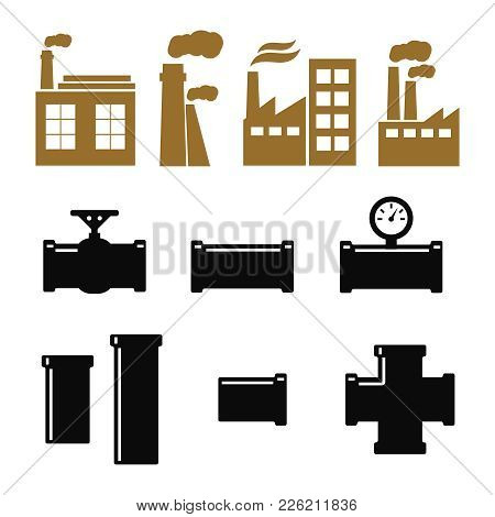 Pipe Fittings Vector Icons Set. Tube Industry, Construction Pipe