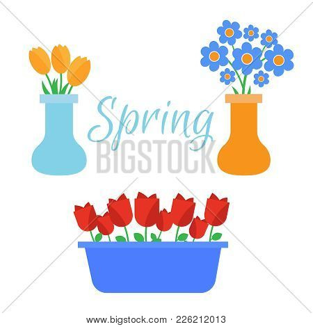 Spring Flowers. Cute Vector Spring Flowers Icons. Simple Flowers