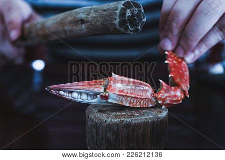 Smash Crab On The Table Ready To Eat