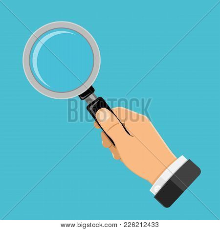 Magnifying Glass Magnifier In Businessman Hand. Flat Style Icon. Isolated Vector Illustration