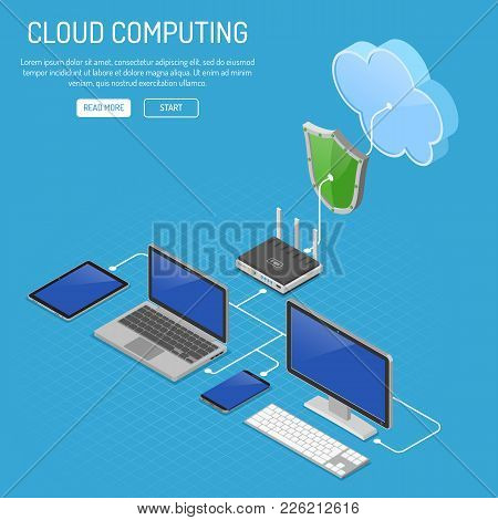 Cloud Computing Technology Isometric Concept With Computer, Laptop, Smartphone, Tablet, Router And S