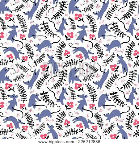 Seamless Pattern With Mouses. Background With Cute Rats In The Grass. Floral Vector Illustration Wit
