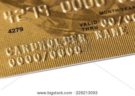 Fragment Of A Bank Plastic Gold Card Template Closeup
