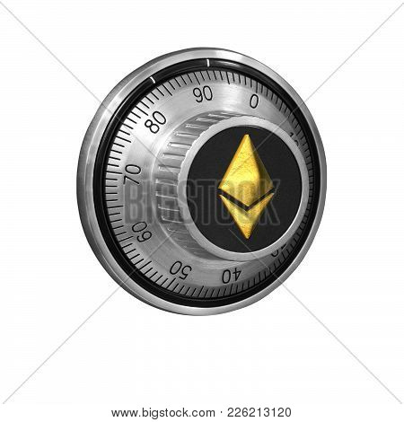 Combination Lock With A Dial And A Golden Symbol Of  Etherium On The Handle On A White Background Is
