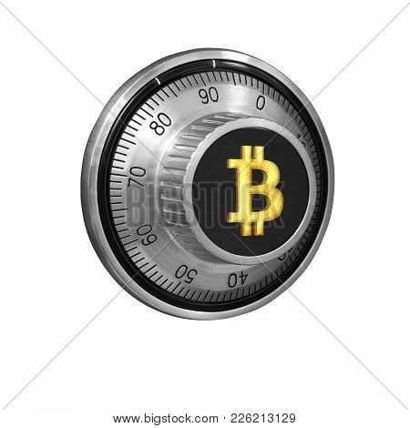 Combination Lock With A Dial And A Golden Symbol Of Bitcoins On The Handle On A White Background Iso