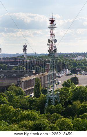 Prague, Czech Republic - June 17 2017: The Great Strahov Stadium With Telecommunication Tower Seen F