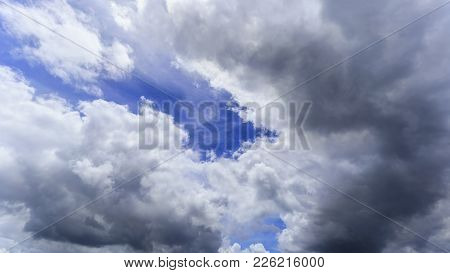 Beautiful White Clouds , Rain Clouds And Blue Sky Background