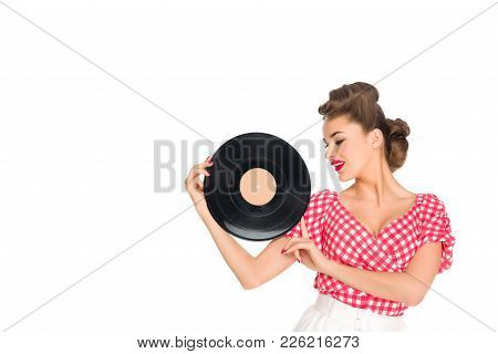 Portrait Of Woman In Pin Up Style Clothing Holding Vinyl Record In Hands Isolated On White