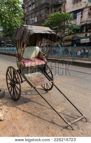 Kolkata, India - April 4, 2017: Vintage hand pull cart or Hand pull rikshaw of Kolkata, India