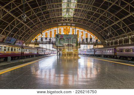 Bangkok, Thailand - March 4, 2017: General view of Hua Lamphong station, the main railway station in Bangkok, Thailand.