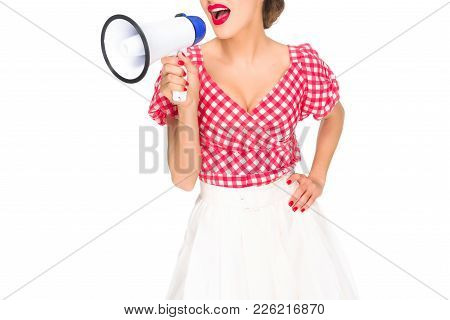 Cropped Shot Of Fashionable Woman In Pin Up Style Clothing With Loudspeaker Isolated On White