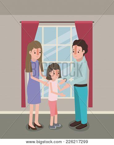 Family Members Inside The House Vector Illustration Design