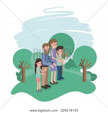 Family Members In The Field Vector Illustration Design