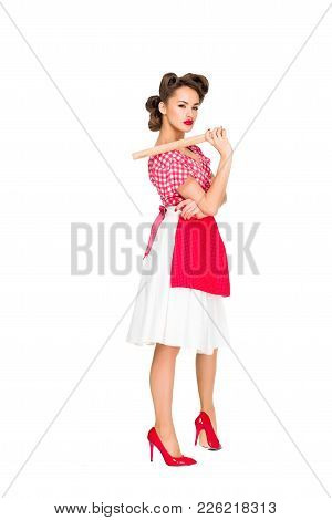 Stylish Woman In Retro Clothing And Apron With Rolling Pin Isolated On White