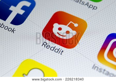 Sankt-petersburg, Russia, February 9, 2018: Reddit Application Icon On Apple Iphone X Smartphone Scr