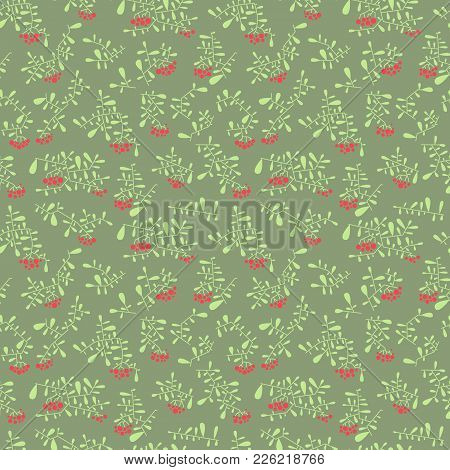 Rowan Berry Seamless Pattern In Flat Simple Style. Doodle Floral Botany Background With Branches And
