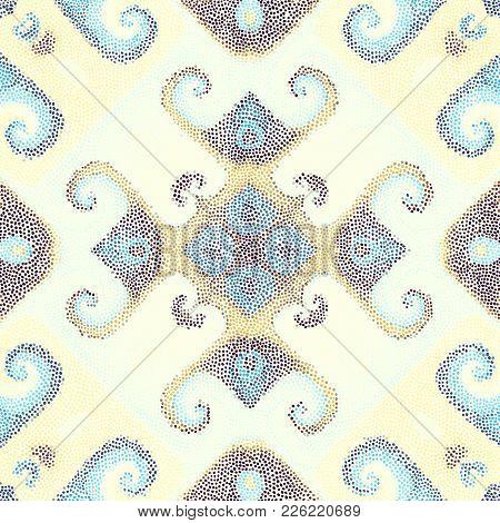 Seamless Background Pattern. Irregular Decorative Mosaic Art Tile Pattern From Small Dots.