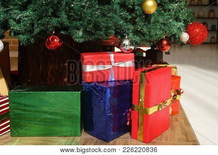 A Christmas Presents In A Colorful Packing