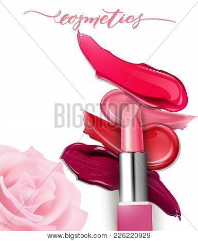 Lipstick Closeup And Smears Lipstick On White Background. Cosmetics Commercial, Beautiful Style. Exq