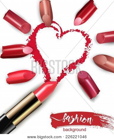 Heart Drawn With Red Lipstick. Broken Multicolored Lipstick Isolated On White Background. Valentine
