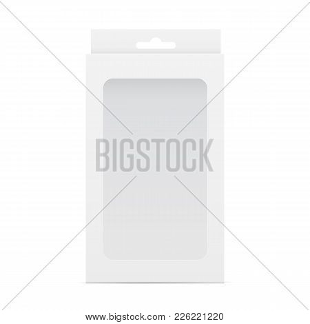 White Blank Box Mockup With Transparent Window And Hanging Tab. Packaging For Mobile Phone Accessori