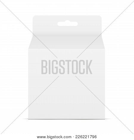 White Blank Square Packaging Box With Hang Tab - Front View. Mockup To Display Your Design. Vector I