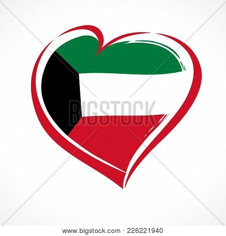 Heart In National Flag Kuwait Banner. Happy National Day Kuwait, National Flag In Heart, 25 February