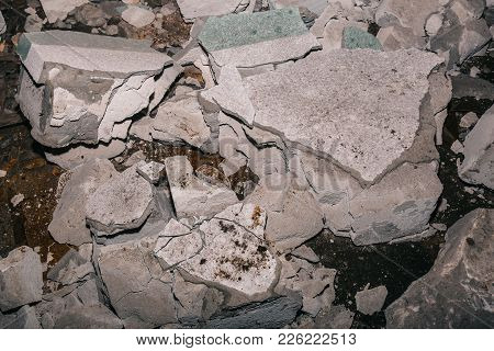 Close Up Of Ruins Of Broken Concrete Wall After Earthquake, Rubbish Of Demolished Building