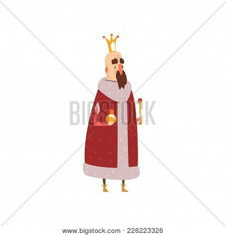 Funny Bald King Character In Red Mantle Holding Orb And Scepter Cartoon Vector Illustration On A Whi