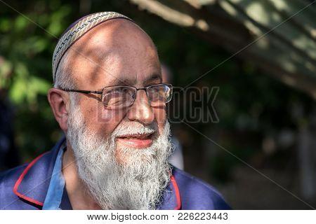 Kfar Maimon, Israel - February 2, 2018: Portrait Of Senior Religious Jewish Man