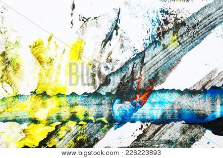 Abstract Colorful Hand Painted Acrylic Background, Creative Abstract Hand Painted Background, Close