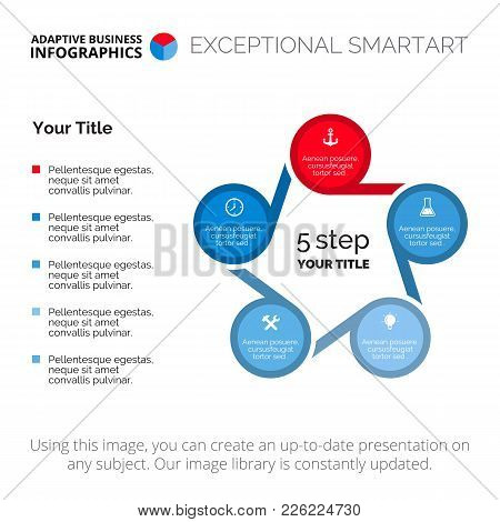 Cycle Diagram. Element Of Presentation, Chart, Five Step Diagram. Concept For Business Infographics,