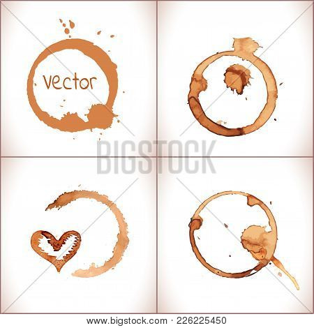 Vector Coffee Paint Stains, Splashes And Harts