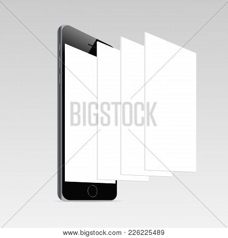 Responsive Mobile Screen Mockup. Phone With Blank Screen And Blank Framework Web Pages. Template For