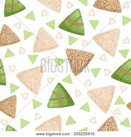 Rice Dumpling With Bamboo Leaf Seamless Pattern, Rice Dumpling Festival Vector Illustrations On A Wh