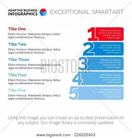 Five Points Diagram. Element Of Presentation, Stairs Diagram, Chart. Concept For Infographics, Busin