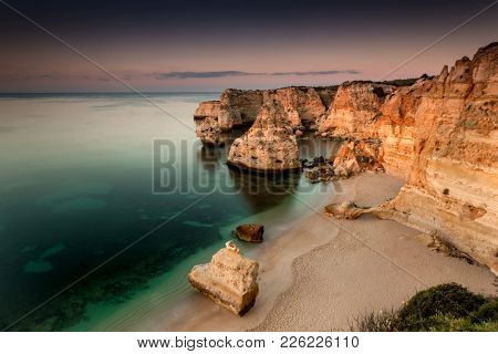 Beautiful landscape view of Marinha Beach, Portugal