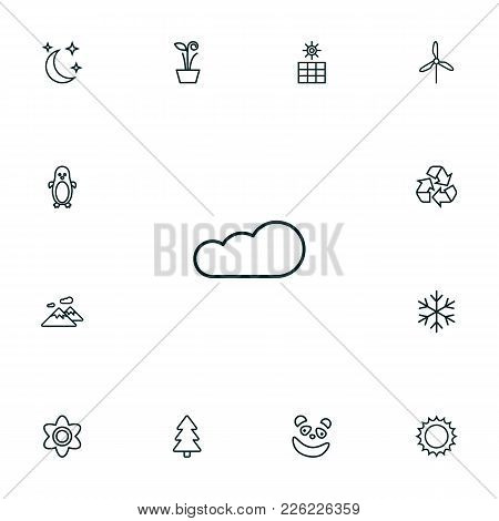 Set Of 13 Natural Icons Line Style Set. Collection Of Sun, Sun Power, Panda Elements.