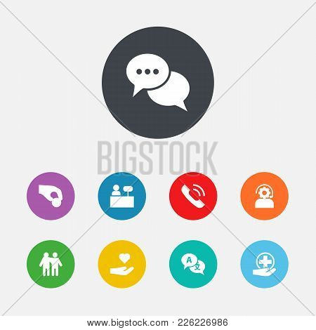 Set Of 9 Backing Icons Set. Collection Of Talk, Reception, Friendship And Other Elements.