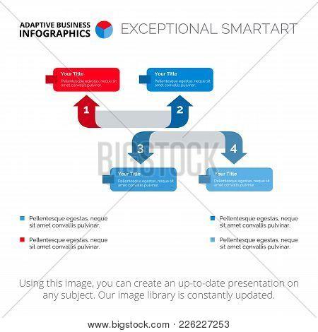 Four Arrows Diagram. Element Of Presentation, Arrow Diagram, Chart. Concept For Infographics, Busine