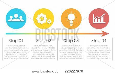 Infographic Elements. Can Be Used For Chart, Brochure, Diagram And Web Design. Template With 4 Eleme