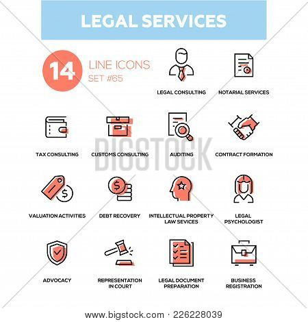 Legal Services - Line Design Icons Set. Tax, Customs Consulting, Notarial, Auditing, Contract Format