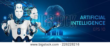 Robots Man And Woman With Artificial Intelligence Working With Virtual Interface In Cybernetic Reali
