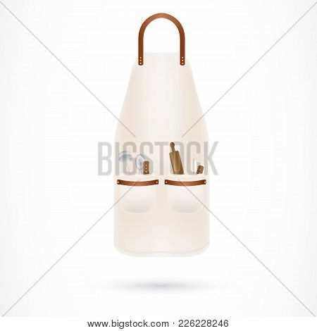 Kitchen Apron With Utensils. Cooking, Chef, Food Preparation. Housekeeping Concept. Can Be Used For